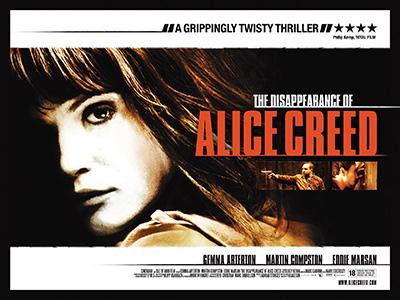 Quad poster design for Alice Creed film by Bobo Creative
