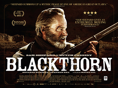 Quad poster design by Bobo for the film Blackthorn