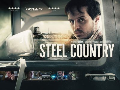 Quad poster original design by Bobo for the film Steel Country